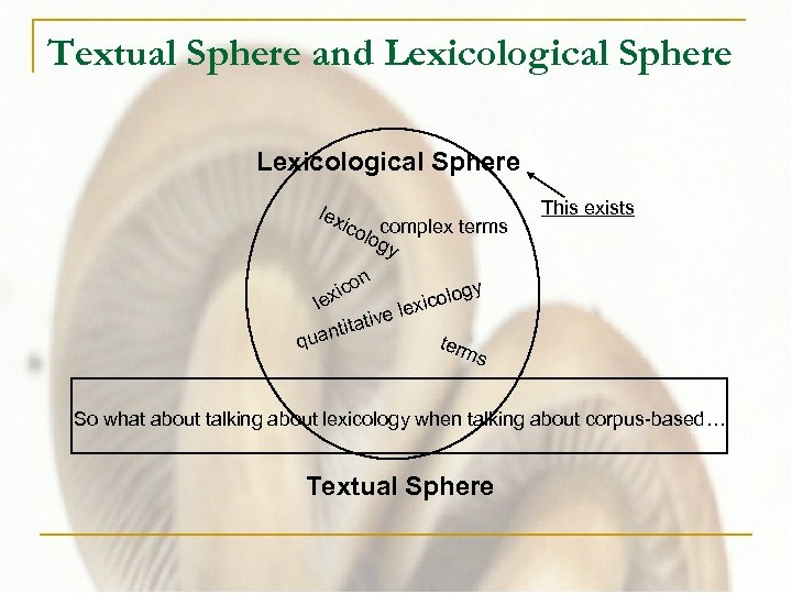 Textual Sphere and Lexicological Sphere lex ico complex terms log y n o xic
