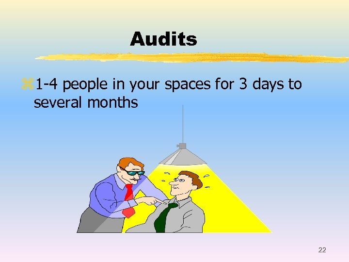Audits z 1 -4 people in your spaces for 3 days to several months