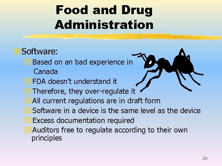 Food and Drug Administration z Software: y. Based on an bad experience in Canada