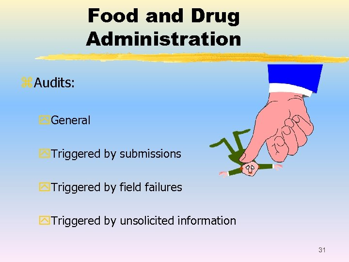 Food and Drug Administration z Audits: y. General y. Triggered by submissions y. Triggered