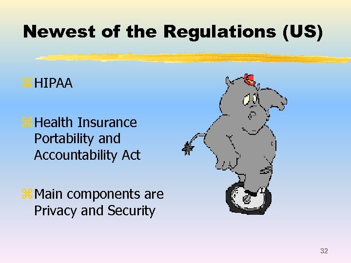 Newest of the Regulations (US) z HIPAA z Health Insurance Portability and Accountability Act