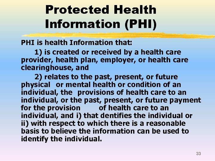 Protected Health Information (PHI) PHI is health Information that: 1) is created or received