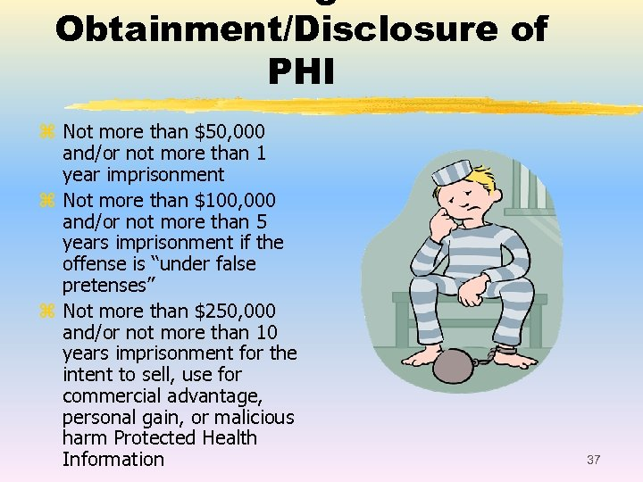 Obtainment/Disclosure of PHI z Not more than $50, 000 and/or not more than 1