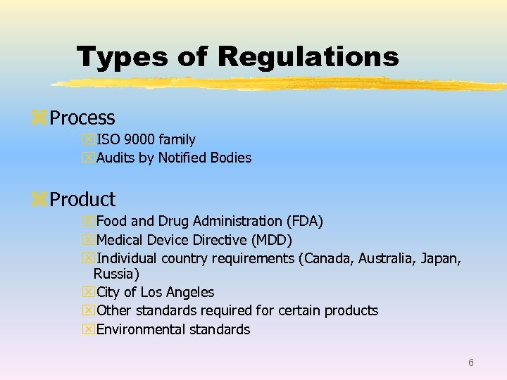 Types of Regulations z Process x. ISO 9000 family x. Audits by Notified Bodies