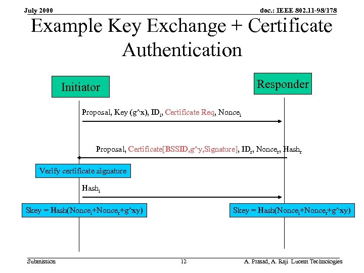 doc. : IEEE 802. 11 -98/178 July 2000 Example Key Exchange + Certificate Authentication
