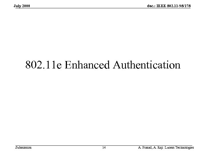 doc. : IEEE 802. 11 -98/178 July 2000 802. 11 e Enhanced Authentication Submission