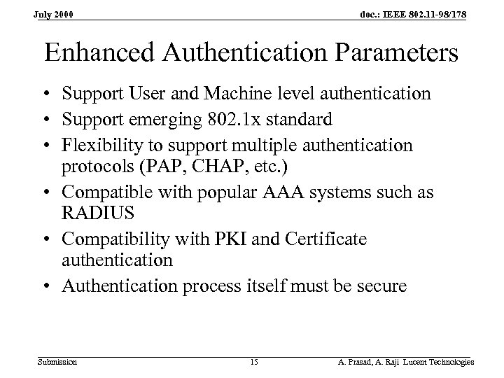 doc. : IEEE 802. 11 -98/178 July 2000 Enhanced Authentication Parameters • Support User