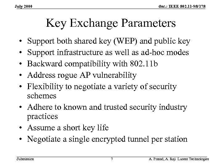 doc. : IEEE 802. 11 -98/178 July 2000 Key Exchange Parameters • • •