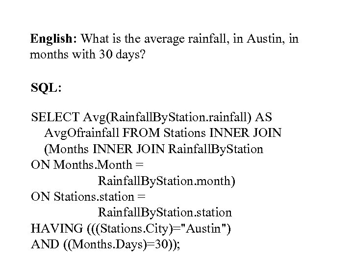 English: What is the average rainfall, in Austin, in months with 30 days? SQL: