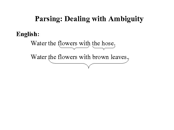 Parsing: Dealing with Ambiguity English: Water the flowers with the hose. Water the flowers