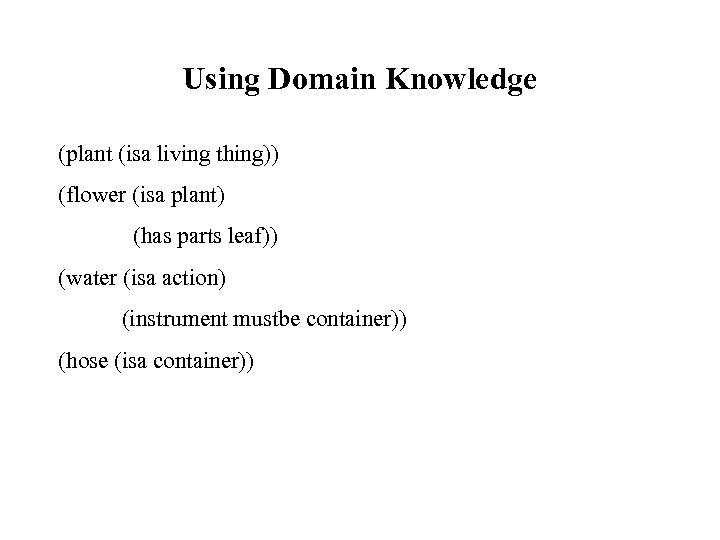 Using Domain Knowledge (plant (isa living thing)) (flower (isa plant) (has parts leaf)) (water