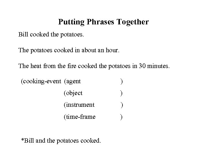 Putting Phrases Together Bill cooked the potatoes. The potatoes cooked in about an hour.