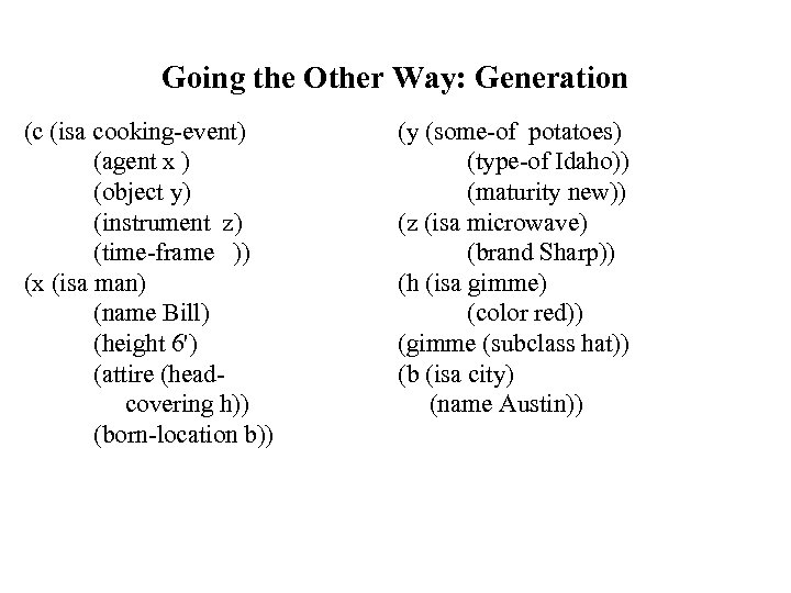 Going the Other Way: Generation (c (isa cooking-event) (agent x ) (object y) (instrument