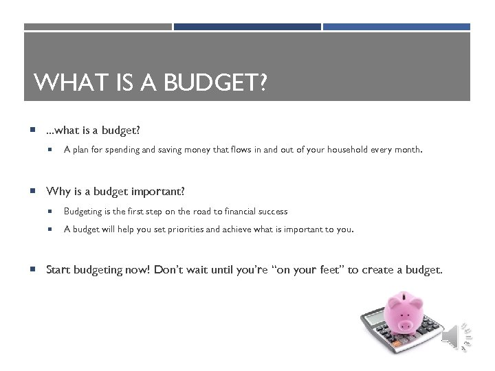 WHAT IS A BUDGET? . . . what is a budget? A plan for