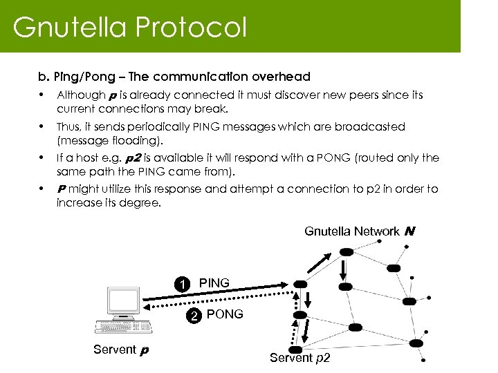 Gnutella Protocol b. Ping/Pong – The communication overhead • Although p is already connected