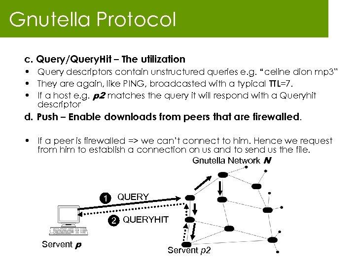 Gnutella Protocol c. Query/Query. Hit – The utilization • Query descriptors contain unstructured queries