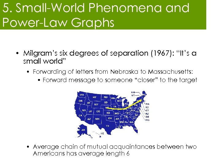 """5. Small-World Phenomena and Power-Law Graphs • Milgram's six degrees of separation (1967): """"It's"""