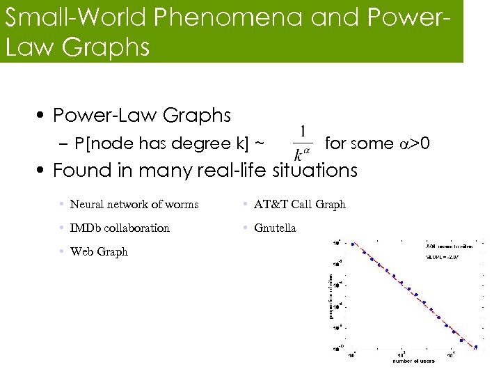 Small-World Phenomena and Power. Law Graphs • Power-Law Graphs – P[node has degree k]