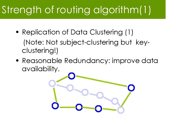 Strength of routing algorithm(1) • Replication of Data Clustering (1) (Note: Not subject-clustering but