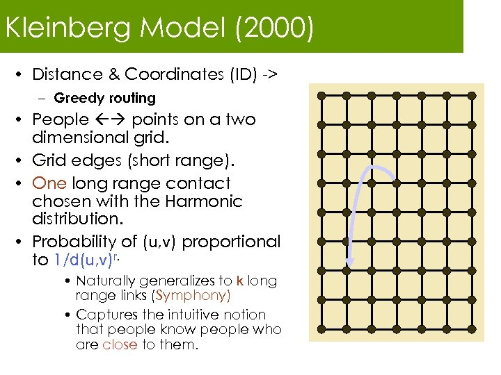 Kleinberg Model (2000) • Distance & Coordinates (ID) -> – Greedy routing • People