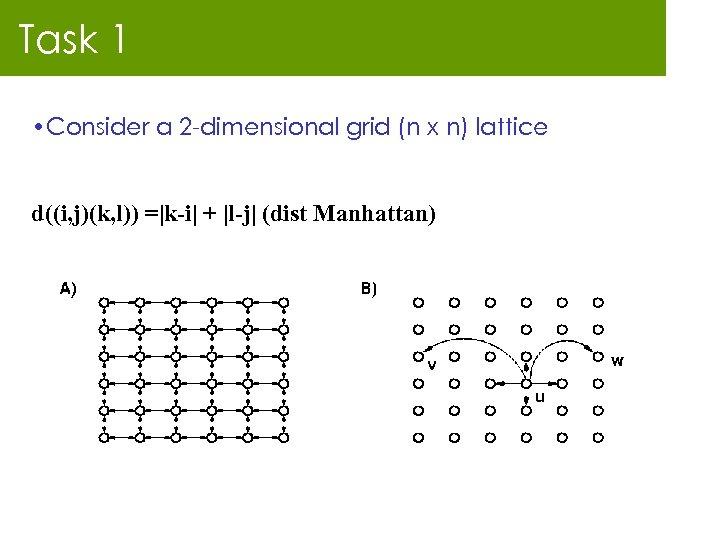 Task 1 • Consider a 2 -dimensional grid (n x n) lattice d((i, j)(k,