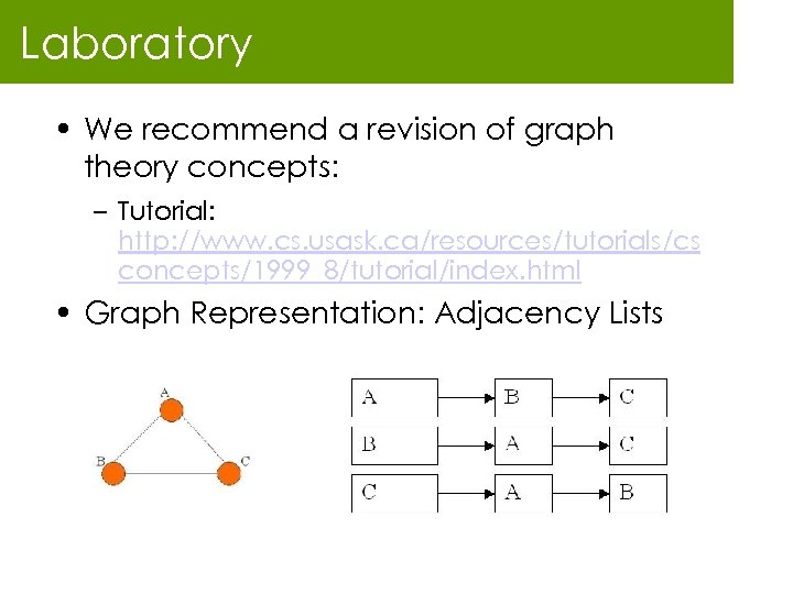 Laboratory • We recommend a revision of graph theory concepts: – Tutorial: http: //www.