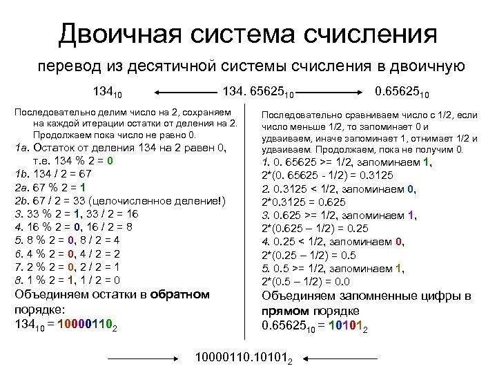 Двоичная система счисления перевод из десятичной системы счисления в двоичную 13410 134. 6562510 Последовательно