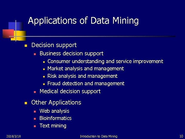 Applications of Data Mining n Decision support n Business decision support n n n