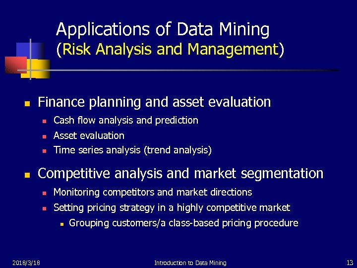 Applications of Data Mining (Risk Analysis and Management) n Finance planning and asset evaluation