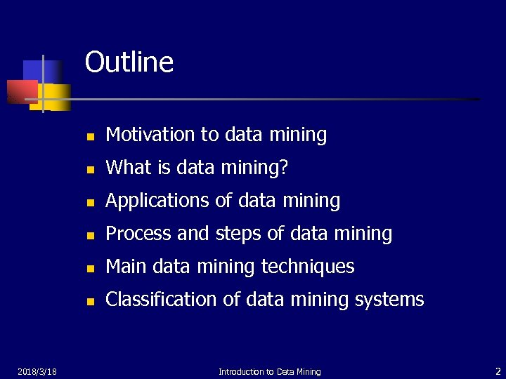 Outline n n What is data mining? n Applications of data mining n Process