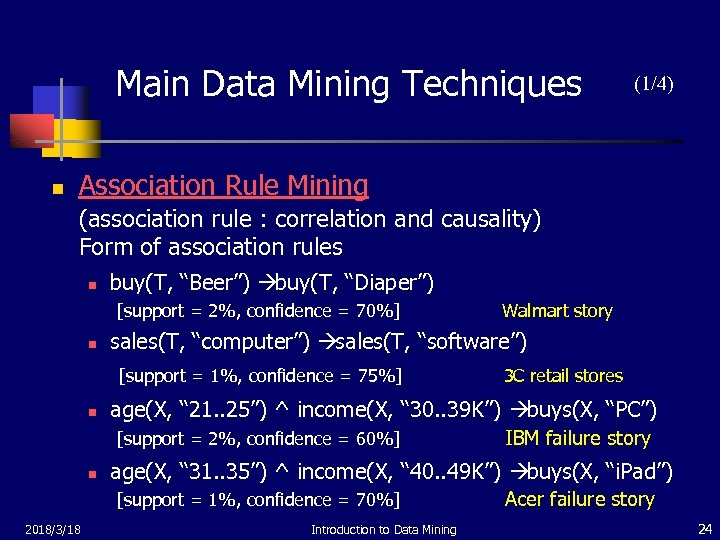 Main Data Mining Techniques n (1/4) Association Rule Mining (association rule : correlation and