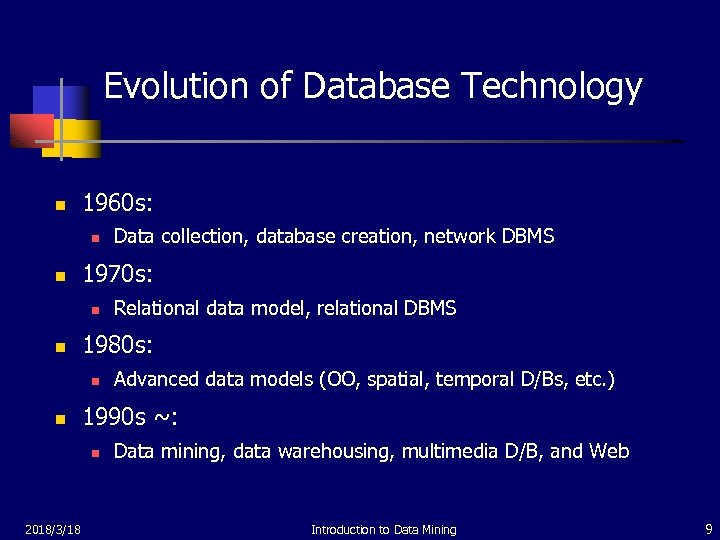 Evolution of Database Technology n 1960 s: n n 1970 s: n n Advanced