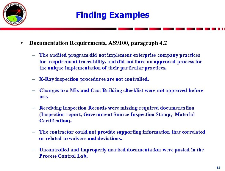 Finding Examples • Documentation Requirements, AS 9100, paragraph 4. 2 – The audited program