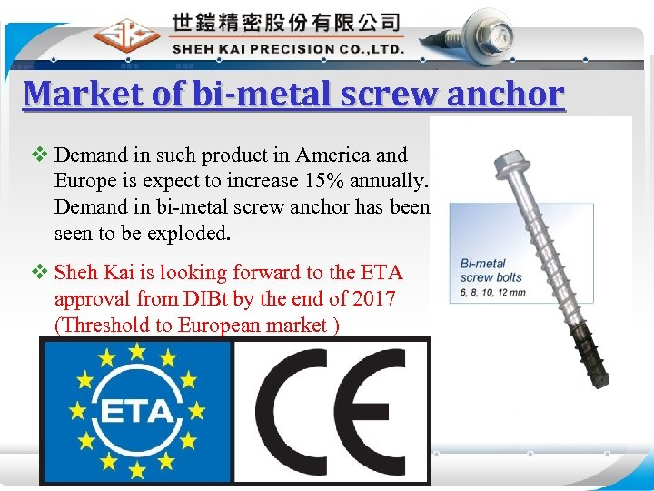 Market of bi-metal screw anchor v Demand in such product in America and Europe