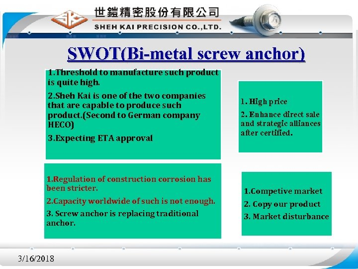 SWOT(Bi-metal screw anchor) 1. Threshold to manufacture such product is quite high. 2. Sheh