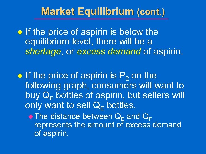 Market Equilibrium (cont. ) l If the price of aspirin is below the equilibrium