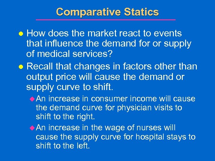 Comparative Statics How does the market react to events that influence the demand for