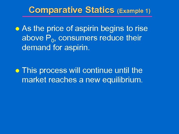 Comparative Statics (Example 1) l As the price of aspirin begins to rise above