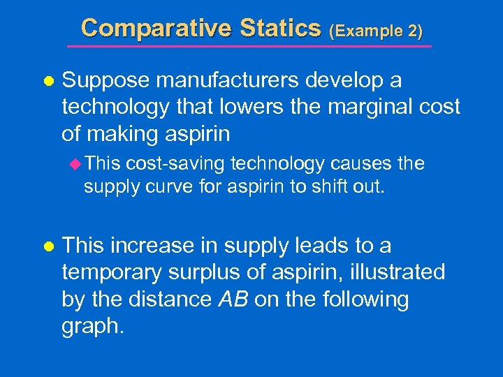 Comparative Statics (Example 2) l Suppose manufacturers develop a technology that lowers the marginal