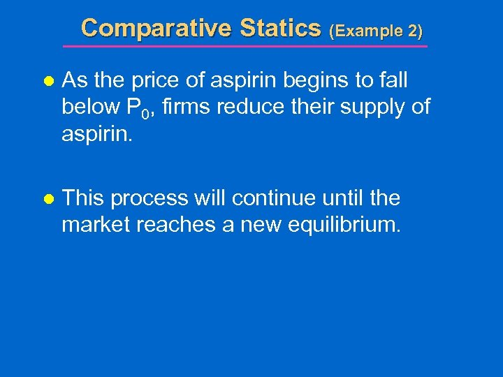 Comparative Statics (Example 2) l As the price of aspirin begins to fall below