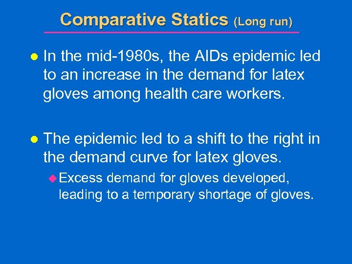 Comparative Statics (Long run) l In the mid-1980 s, the AIDs epidemic led to
