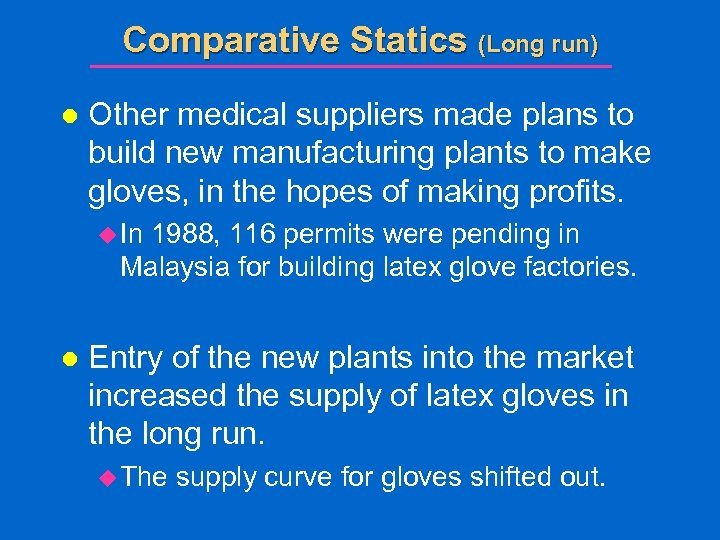 Comparative Statics (Long run) l Other medical suppliers made plans to build new manufacturing