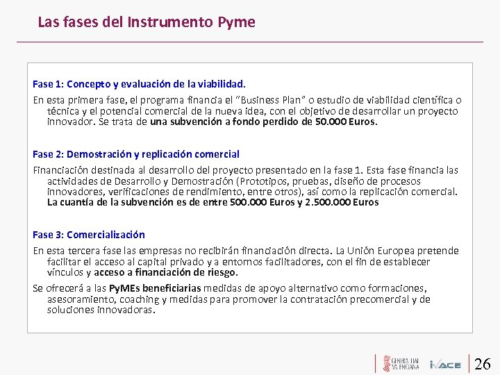 Las fases del Instrumento Pyme Fase 1: Concepto y evaluación de la viabilidad. En