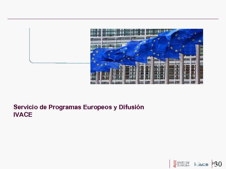 Servicio de Programas Europeos y Difusión IVACE 30 30