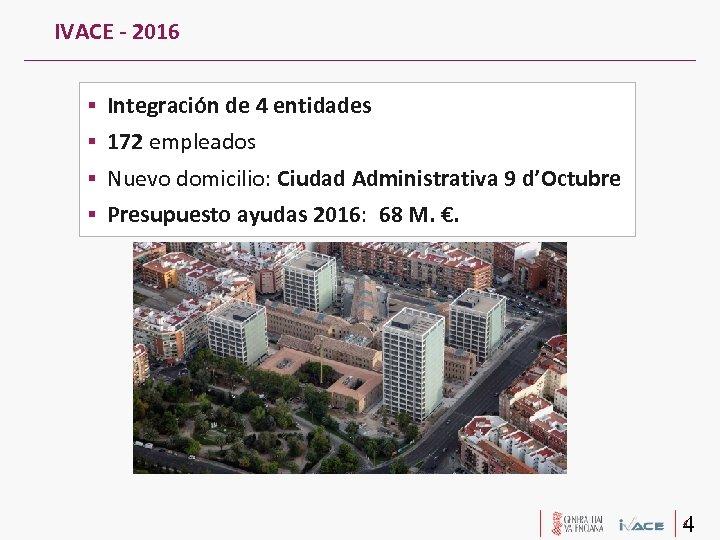 IVACE - 2016 Integración de 4 entidades 172 empleados Nuevo domicilio: Ciudad Administrativa 9