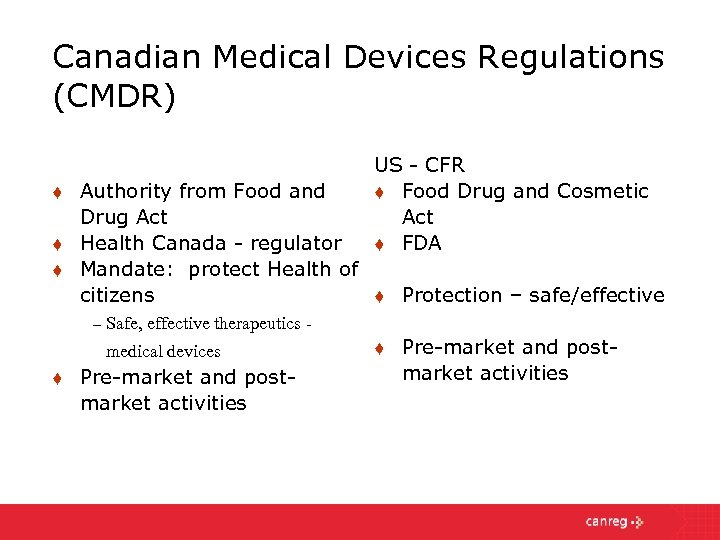 Canadian Medical Devices Regulations (CMDR) t t t Authority from Food and Drug Act