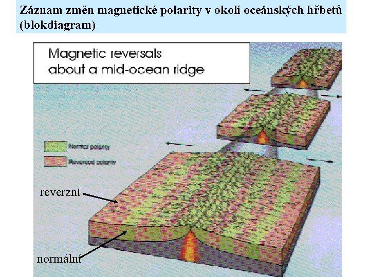 Záznam změn magnetické polarity v okolí oceánských hřbetů (blokdiagram) reverzní normální