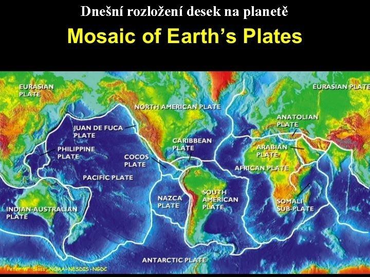 Dnešní rozložení desek na planetě