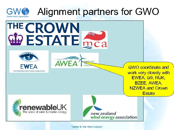Alignment partners for GWO coordinate and work very closely with EWEA, G 9, RUK,