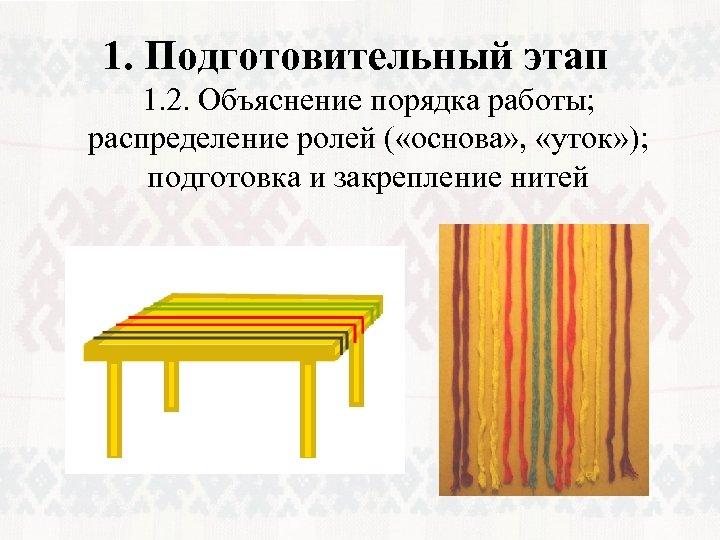 1. Подготовительный этап 1. 2. Объяснение порядка работы; распределение ролей ( «основа» , «уток»